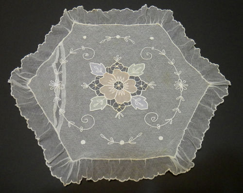 Antique French Net Lace Tambour Lace Boudoir Pillow Cover Case - Lovely Floral