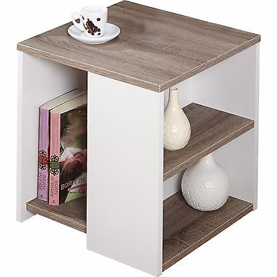 Urban End Table White Wood Lamp Stand Shelves Contemporary Storage Living Room