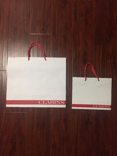 Clarins White Paper Retail Shopping Bag (Lot Of 2)