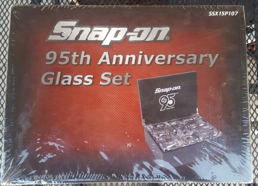 SNAP-ON TOOLS  95TH ANNIVERSARY GLASS SET IN NICE WOODEN DISPLAY CASE RARE-