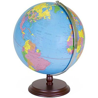 World Geography Globe 12 Inch Desktop Atlas with Antique Stand Earth with Maps