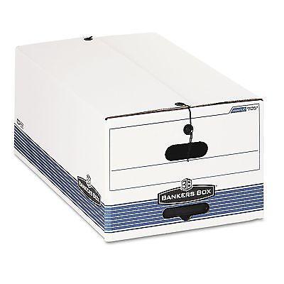 Bankers Box STOR/FILE Storage Box Button Tie Legal White/Blue 12/Carton