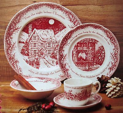 Johnson Bros Twas Night Before Christmas 5 pc Place Setting- plates bowl mug