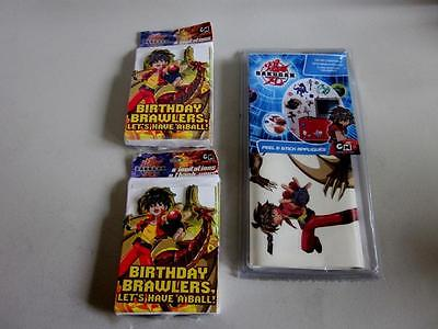 BAKUGAN BIRTHDAY BRAWLERS INVITATIONS 8-PACK AND BAKUGAN APPLIQUES