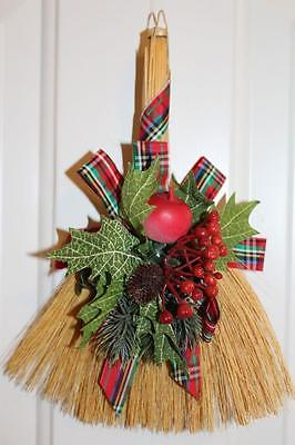 Vtg Christmas Decorated STRAW BROOM Wall Hanging Home Decor 11