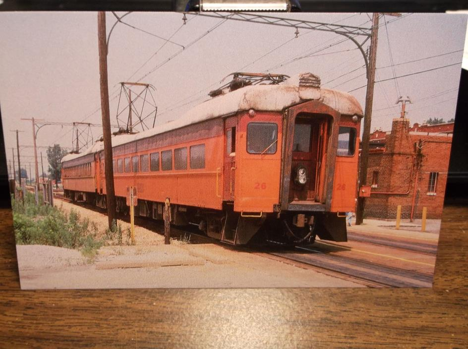 CSS&SB MU CAR #26 CHICAGO SOUTH SHORE & SOUTH BEND RR HEGEWISCH,IL 1978 POSTCARD