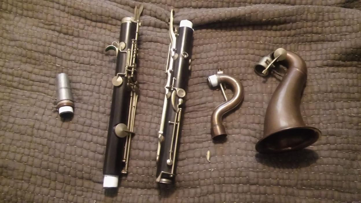Rampone bass clarinet. Wood. Vintage instrument.