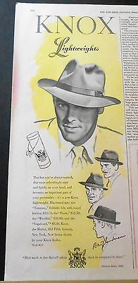 1948 KNOX FOLDABLE FELT LIGHTWEIGHT HAT VINTAGE ART AD ~ 4 STYLES ILLUSTRATED