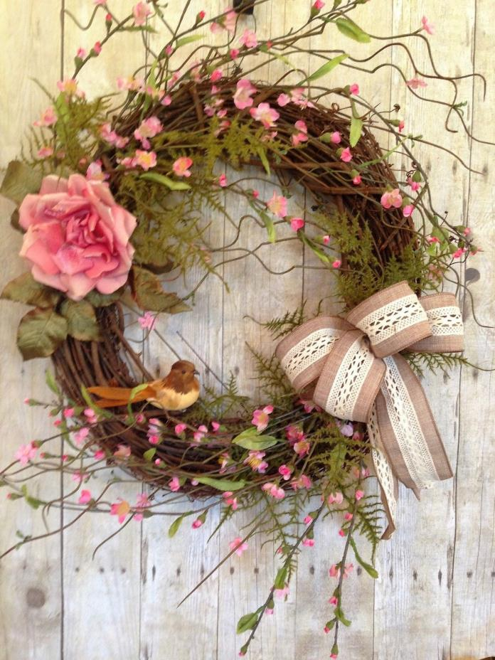 SPRING DOOR WREATH FOR FRONT DOOR- SUMMER DOOR WREATH- APPLE BLOSSOM WREATH