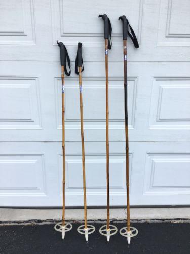 2 Sets Of Vintage Nordic Ski Poles Bamboo Leather Folk Art Display Skiing