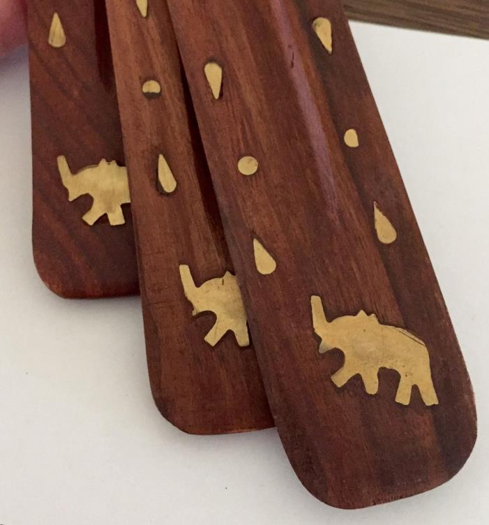 Incense Burner Stick Holder Ash Chatcher Wooden Elephant Brass Inlay (3)