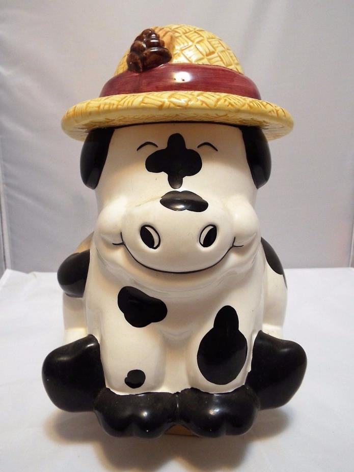 CERTIFIED INTERNATIONAL DAIRY COW WITH SUN BONNET COOKIE JAR BLACK AND WHITE
