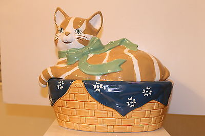 Ceramic Kitty Cat Laying in Basket Collectible Cookie Jar