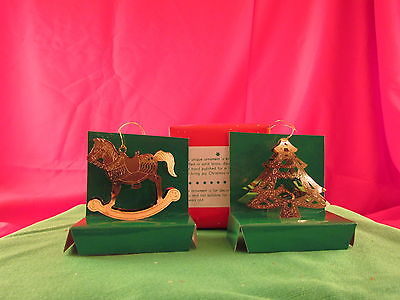 Classic 1 Treasures Gold Rocking Horse & 1  Christmas Tree hanging Ornaments