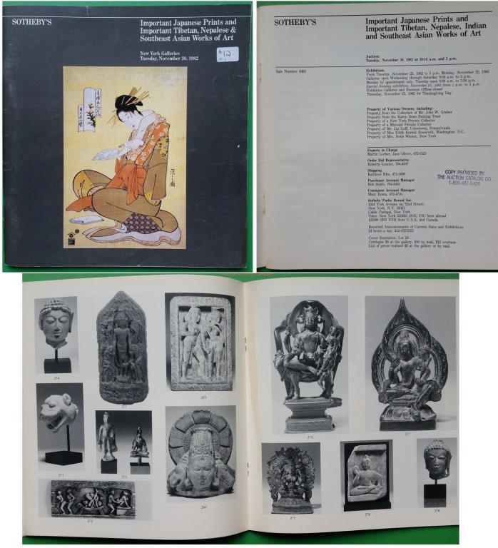 Sothebys 1982 NY Important Tibetan Nepalese & SE Asian WofA + Japanese Prints