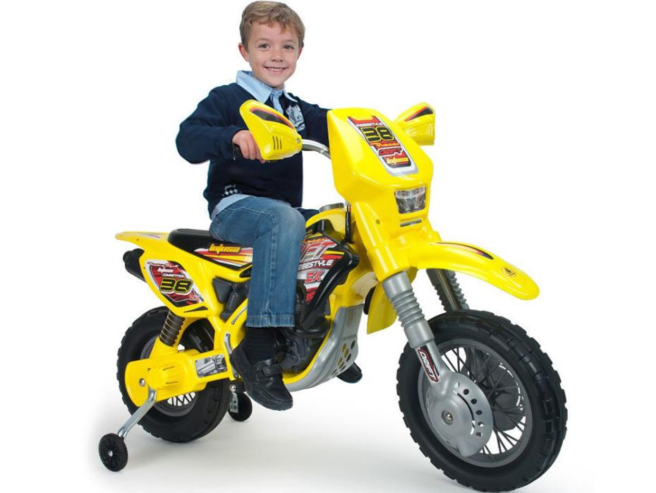 Injusa Drift ZX Dirt Bike 12v battery powered kids toy training wheels yellow