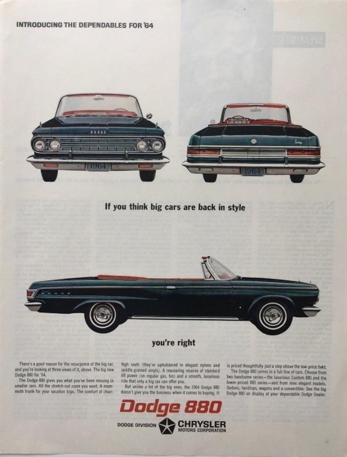 1963 DODGE 880 Chrysler  Blue convertible Car Photos Original PRINT AD
