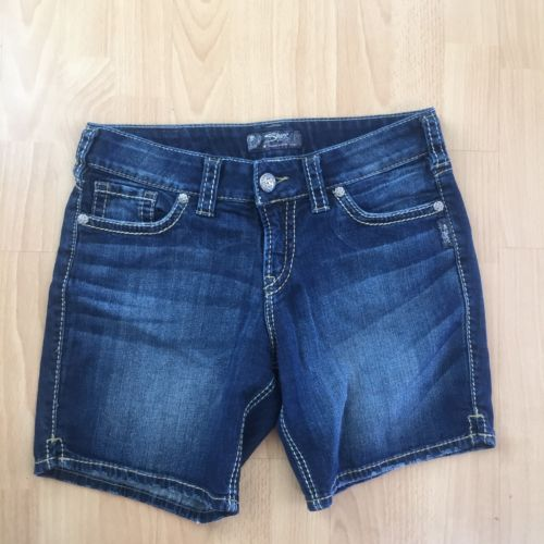 Womens Buckle SILVER SUKI Denim Jean Shorts 29 Thick Stitch