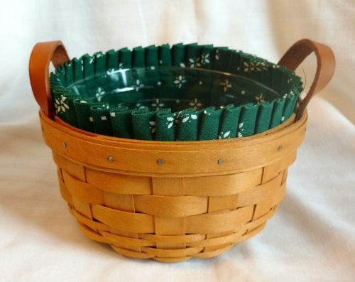 1996 Longaberger Button Basket Green Traditions Liner Protector