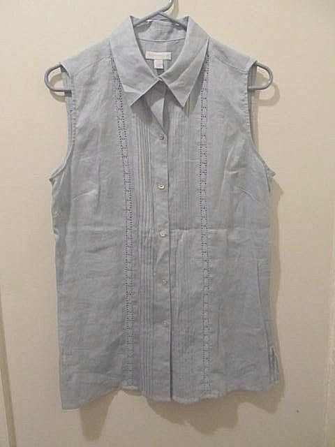 Charter Club womens blue linen sleeveless button front collared blouse 10