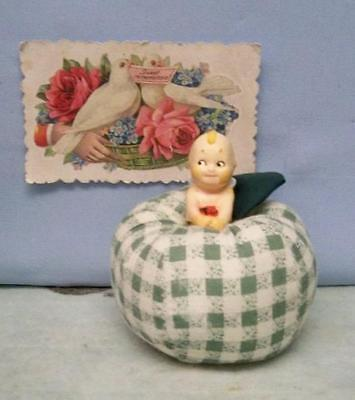Kewpie Doll Pincushion ~ Artesian Made Kewpie Holding Rose In Apple Pincushion