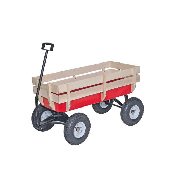 Classic Red Wagon All Terrain Wood Railing Off Road Children Kids Ride Play Gift
