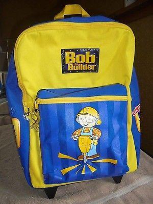 Htf Wheels Bob the Builder Backpack School Bag Wheeled Kids Luggage EUC Handle