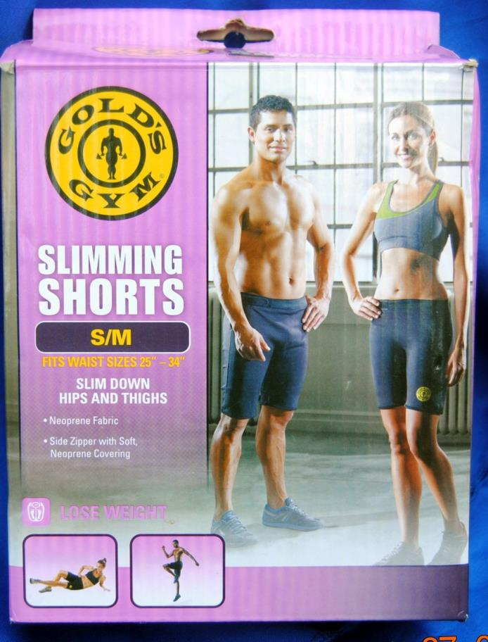 GOLD'S GYM SLIMMING SHORTS SLIM DOWN HIPS AND THIGHS NEOPRENE FABRIC WAIST 25-34