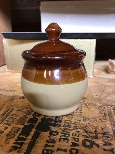 Vintage Multi Brown Glazed Crock Lidded Pot - Sugar Bowl Dish