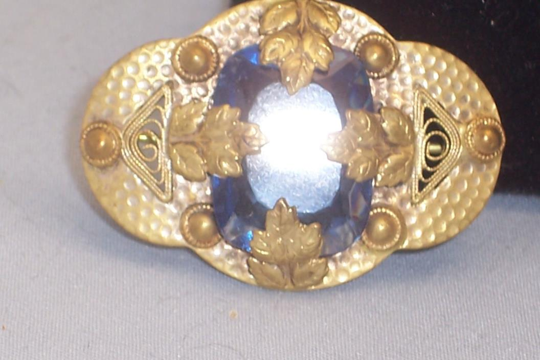 Art Deco Small Hammered Brass Sash Brooch W/Faceted Blue Stone & Leaf Design