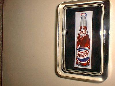 PEPSI COLA BOTTLE Soda Pop Drink Advertising Label Sign Logo GLASS PAPERWEIGHT