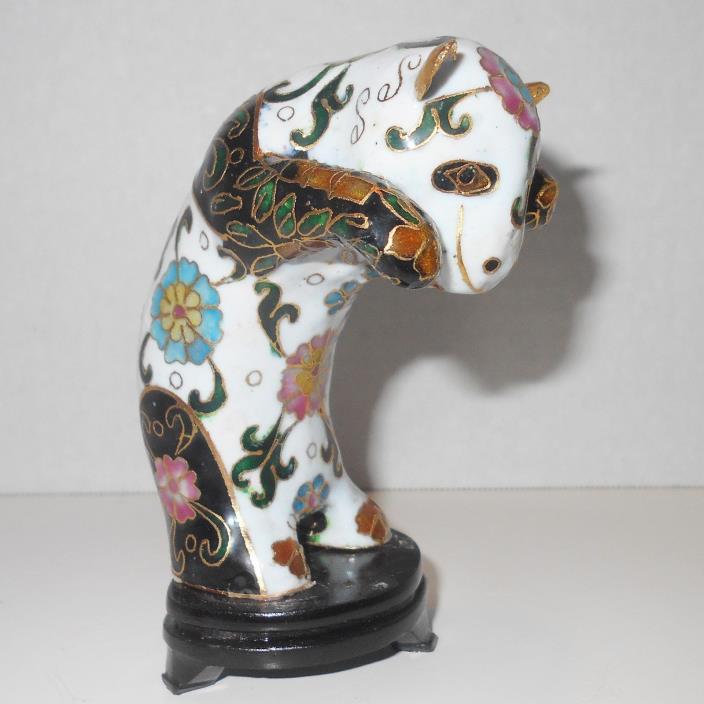 Vtg Panda Bear Figurine Chinese Cloisonne Porcelain on Wood Stand