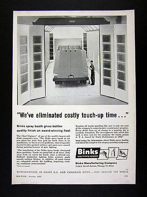 1963 Binks Finishing Equipment Truck-size Spray Paint Booth vintage print Ad