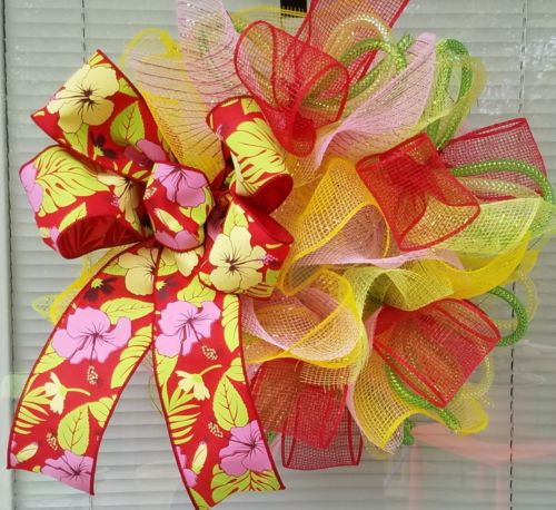 TROPICAL FLOWER BOW MESH WREATH DECO MESH RIBBON SMALL 16