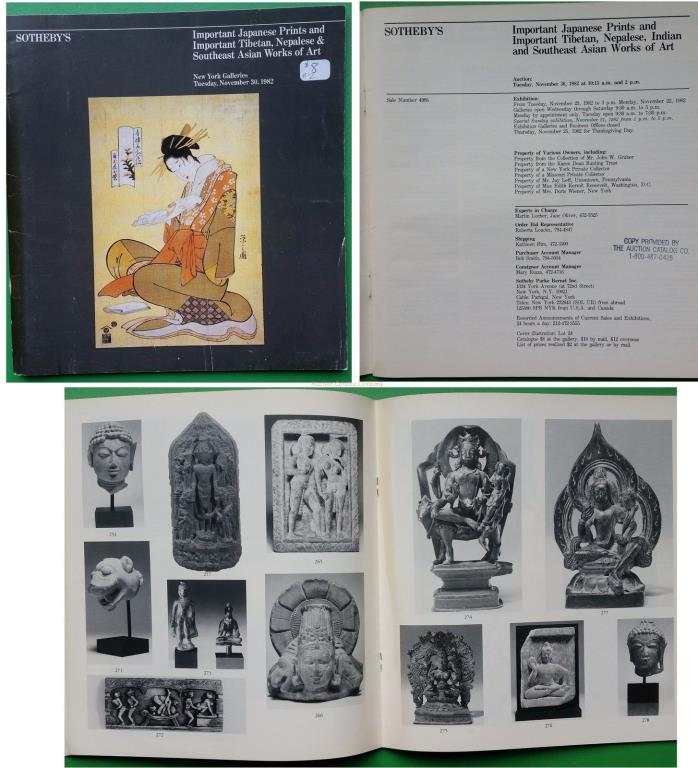 Sothebys NY 1982 Important Tibetan Nepalese & SE Asian WofA + Japanese Prints