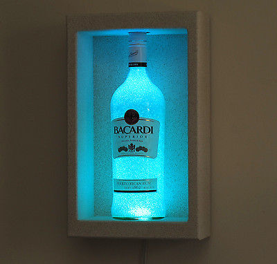 Bacardi Rum LED Sconce Shadow Box Remote Color Changing Bottle Lamp Bar Light