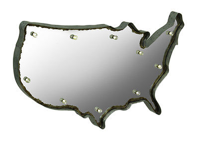 Rustic US Map Marquee Light-Up Framed Wall Mirror