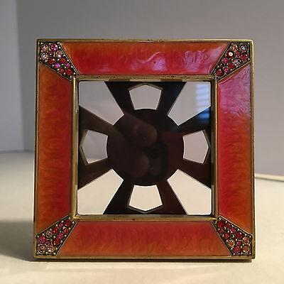 Elegant JAY STRONGWATER Leland orange enamel table top frame crystal EXCELLENT