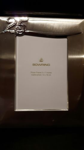 Bowring 25th Anniversary brushed silver metal photo frame  5x7