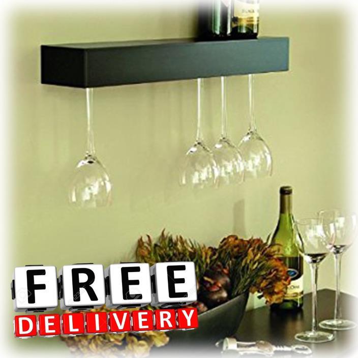 Wine Glass Holder Wall Mount 6 Holders Shelf Organizer Bar Modern Wood Storage