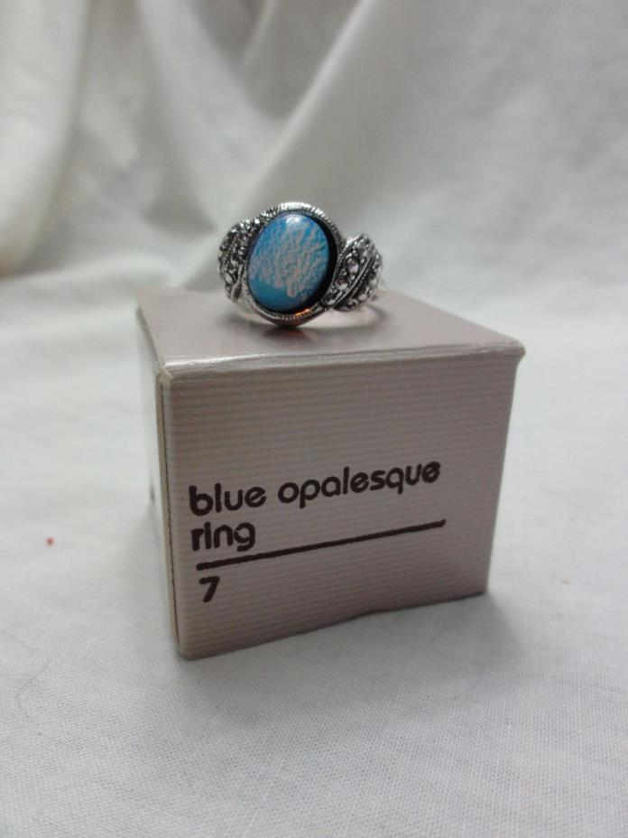 VINTAGE 1990 AVON  BLUE OPALESQUE RING Sz 7 SILVER-TONE NEW IN ORIGINAL BOX