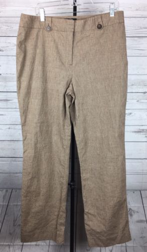 Nic + Zoe Womens Straight Flat Front Dress Career Pants Brown Sz 16 Cotton Linen