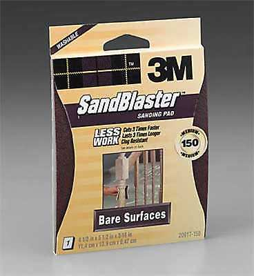 3M SandBlaster 20917-150 Bare Surfaces Sanding Pad, Medium 150