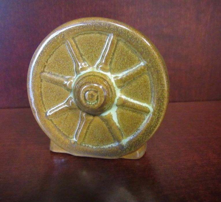 Frankoma Toothpick Holder Wagon Wheel Brown Turquoise Glaze Western Theme