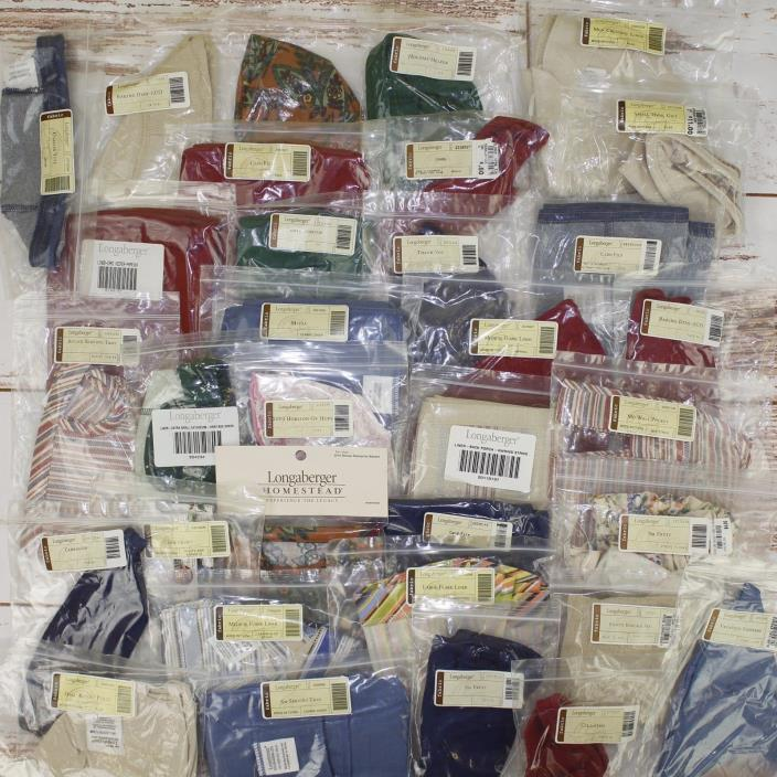 New Longaberger Basket Liner Cloth Fabric Lot of 33 Different Sizes Colors #151
