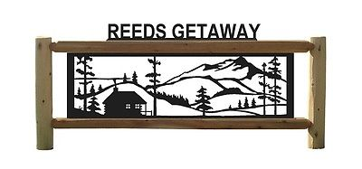 CABINS-RUSTIC LOG SIGN-CLINGERMANS OUTDOOR SIGNS-FENCE-FENCING #CAB 15474