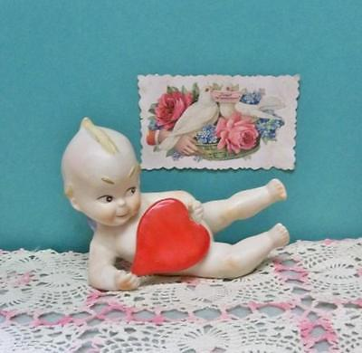 Valentine Kewpie Piano Baby Figurine Porcelain Action Cupie Holding Heart Mint