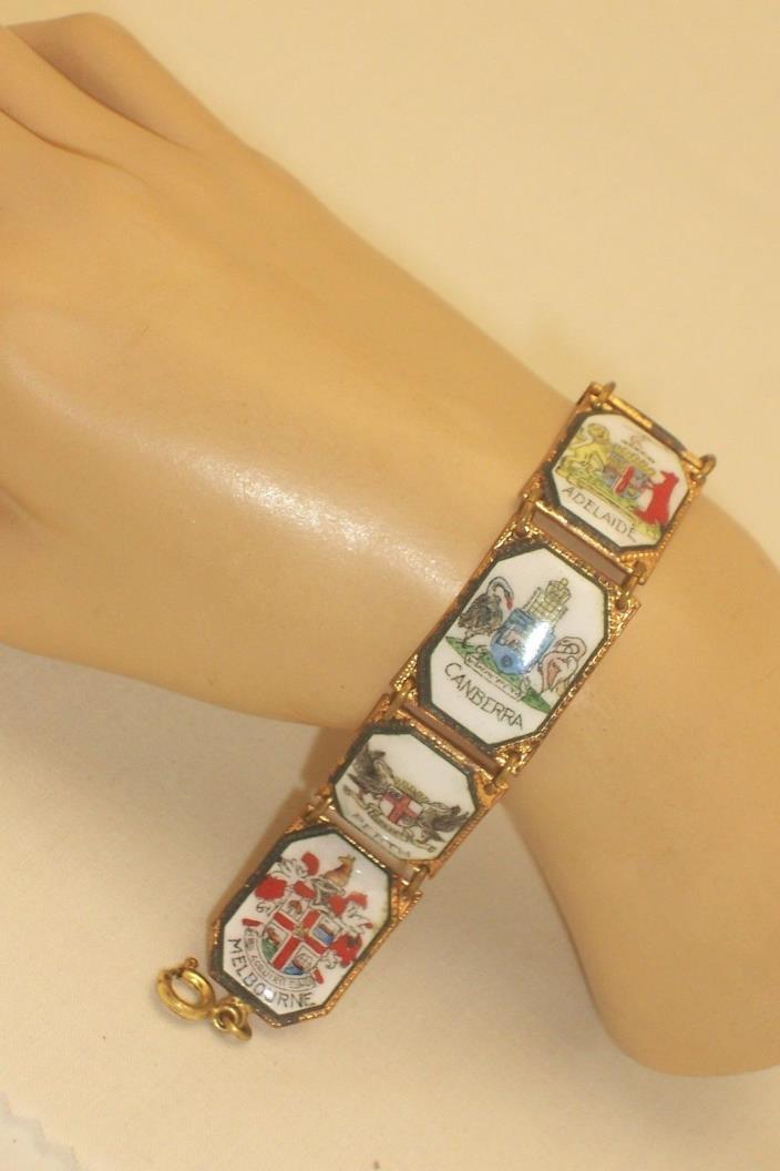 Vintage Porcelain Enamel Australian Travel Shield Bracelet