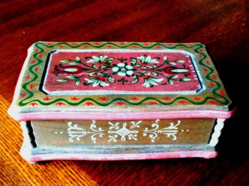 Vintage Anri Reuge Hand-Painted Wood Music Box Le Bleu Danube Swiss Movement