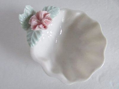 Ceramic Ring Holder Trinket Dish with Raised Flower PINK
